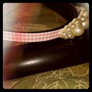 Pink gingham headband with pearl-look cluster